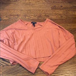 publik coral colored cropped long sleeved
